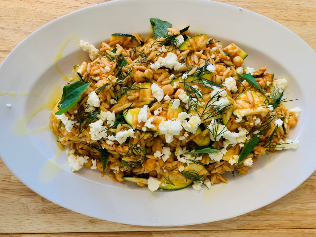 summer orzo salad with zucchini